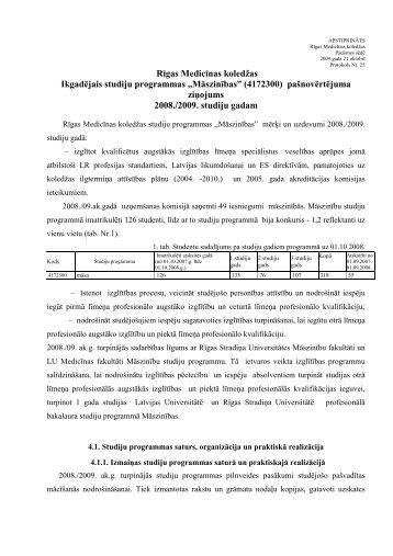 Rīgas Medicīnas koledžas Ikgadējais studiju programmas ...