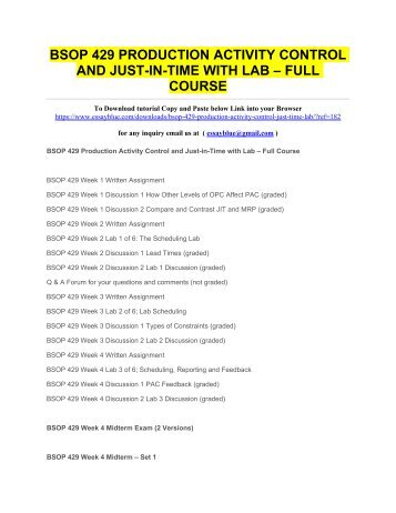 BSOP 429 PRODUCTION ACTIVITY CONTROL AND JUST-IN-TIME WITH LAB – FULL COURSE