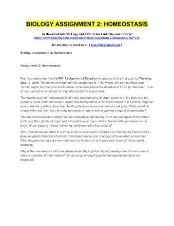 BIOLOGY ASSIGNMENT 2 HOMEOSTASIS