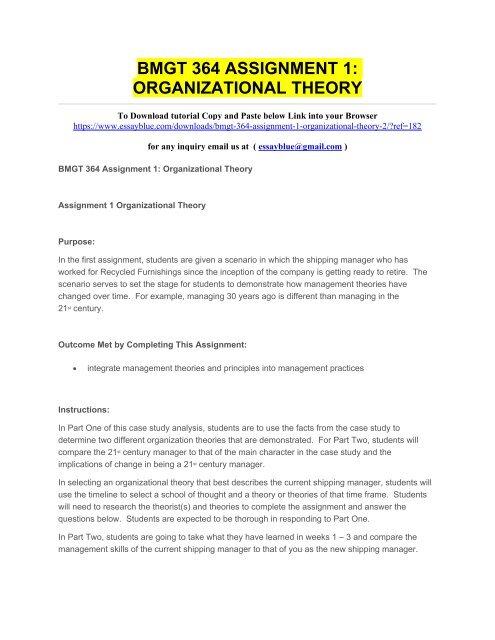 BMGT 364 ASSIGNMENT 1 ORGANIZATIONAL THEORY