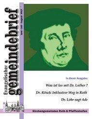 Evang. Kirchengemeinde Roth - Gemeindebrief Juni - August 2017