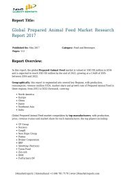 Global Prepared Animal Feed Market Research Report 2017