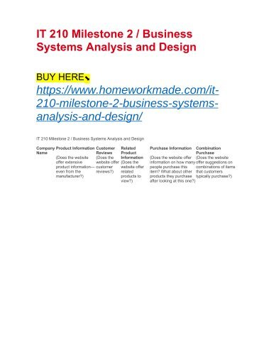 IT 210 Milestone 2 : Business Systems Analysis and Design