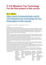 IT 210 Milestone Two Technology For the final project in this course
