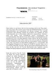 Jahresbericht 2007 Freundeskreis Zoo Landau - Zoofreunde Landau