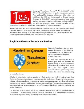 English to German Translation Services-Video Subtitling-Transcription Services