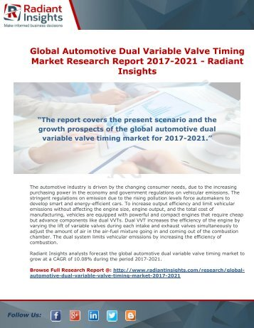 Global Automotive Dual Variable Valve Timing Market Research Report 2017-2021 -Radiant Insights