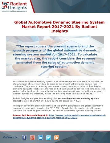 Global Automotive Dynamic Steering System Market Report 2017-2021
