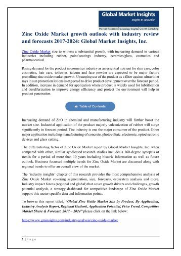 PDF- Zinc Oxide Market