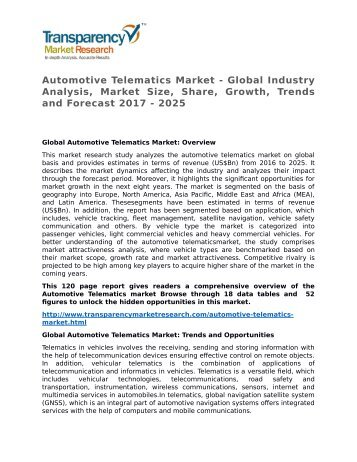 Automotive Telematics Market - Global Industry Analysis, Market Size, Share, Growth, Trends and Forecast 2017 - 2025