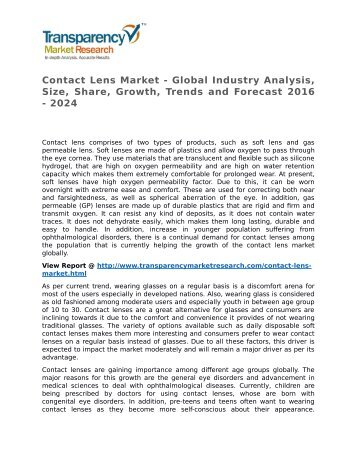 Contact Lens Market - Global Industry Analysis, Size, Share, Growth, Trends and Forecast 2016 - 2024