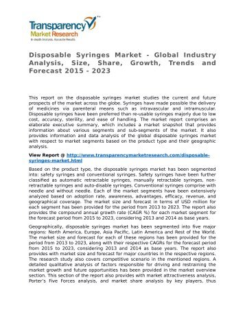 Disposable Syringes Market - Global Industry Analysis, Size, Share, Growth, Trends and Forecast 2015 - 2023