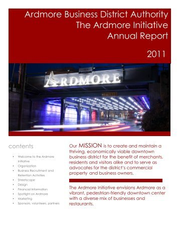 2011 Ardmore Initiative Annual Report - The Ardmore Initiative