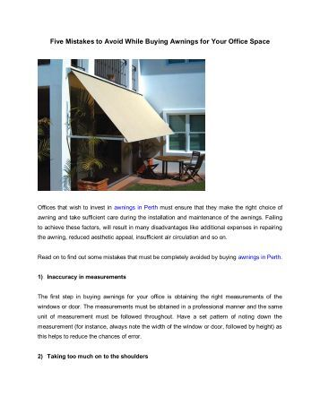 Five Mistakes to Avoid While Buying Awnings for Your Office Space