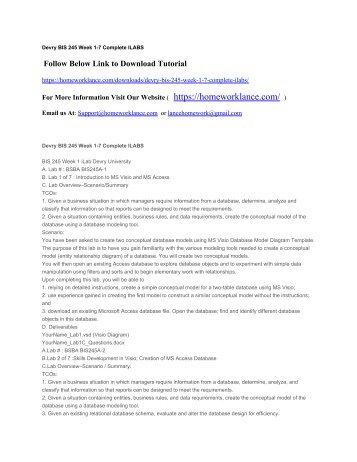 Devry BIS 245 Week 1-7 Complete ILABS
