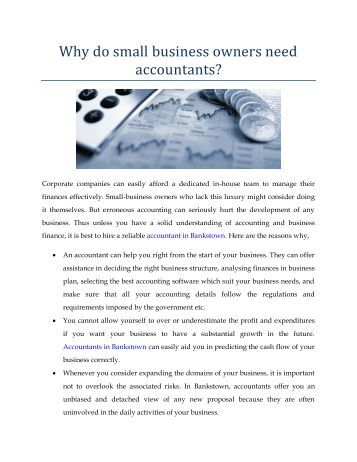 Why do small business owners need accountants?