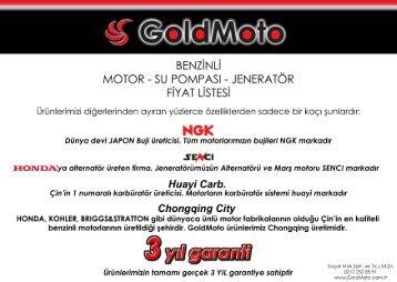 GoldMoto Benzinli ve Dİzel mamül fiyat listesi Haziran 2017