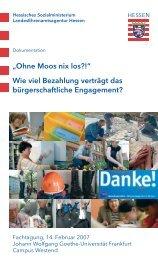 """""""Ohne Moos nix los?!"""" Wie viel Bezahlung verträgt - Gemeinsam aktiv"""