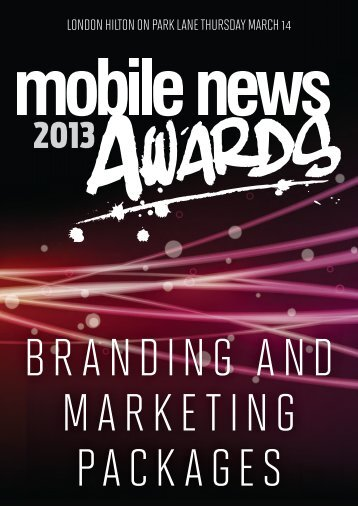 Marketing and Branding Opportunities - Mobile News Awards 2013