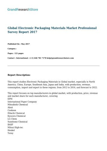 Global Electronic Packaging Materials Market Professional Survey Report 2017