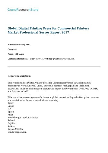 Global Digital Printing Press for Commercial Printers Market Professional Survey Report 2017