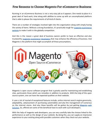 Few Reasons to Choose Magento For eCommerce Business