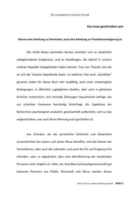 TREUFLEISCH - Einleitung Erstes Buch