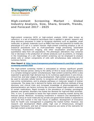 High-content Screening Market - Global Industry Analysis, Size, Share, Growth, Trends, and Forecast 2017 - 2025