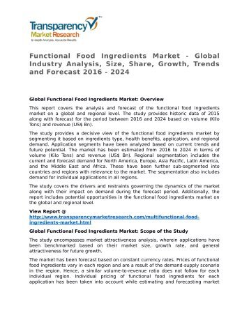 Functional Food Ingredients Market - Global Industry Analysis, Size, Share, Growth, Trends and Forecast 2016 - 2024