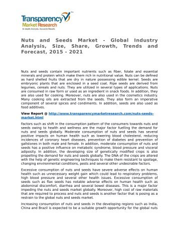 Nuts and Seeds Market - Global Industry Analysis, Size, Share, Growth, Trends and Forecast, 2015 - 2021