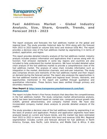 Fuel Additives Market - Global Industry Analysis, Size, Share, Growth, Trends, and Forecast 2015 - 2023