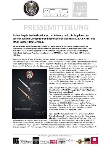 """Pressemitteilung """"Barber Angels""""-Friseurscheren - Lizenzlinie mit MAKS Scissors Deutschland"""