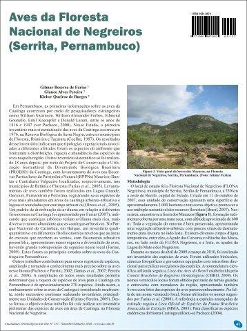 Aves da Floresta Nacional de Negreiros (Serrita, Pernambuco)
