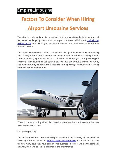 Factors To Consider When Hiring Airport Limousine Services