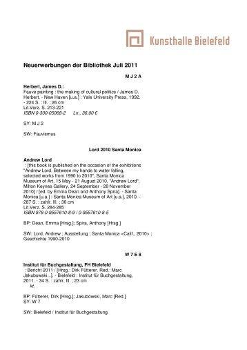 Neuerwerbungen der Bibliothek Juli 2011 - Kunsthalle Bielefeld