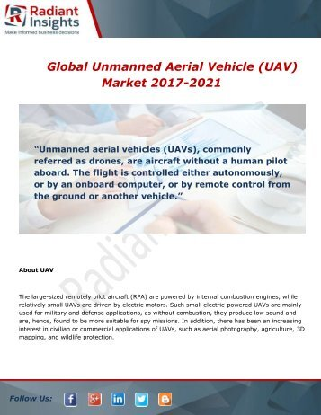 Global Unmanned Aerial Vehicle (UAV) Market Opportunities and Forecast 2017-2021