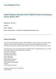 Global Magneto Resistive RAM (MRAM) Market Professional Survey Report 2017