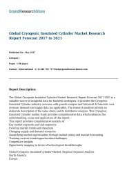 Global Cryogenic Insulated Cylinder Market Research Report Forecast 2017 to 2021