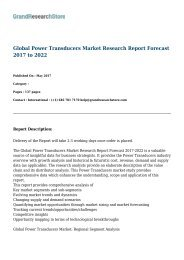 Global Power Transducers Market Research Report Forecast 2017 to 2022