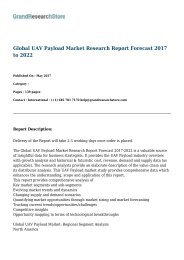 Global UAV Payload Market Research Report Forecast 2017 to 2022