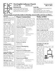 July 17 - First English Lutheran Church