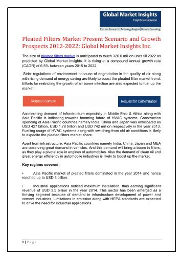 The PLEATED FILTER market growth outlook with industry review and forecasts