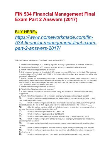 Fin534 Financial Management: P7-15 Markov Manufacturing recently spent $15 million