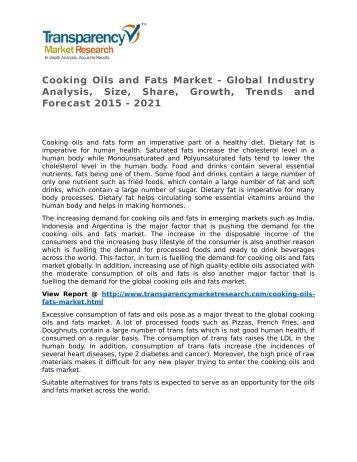 Cooking Oils and Fats Market - Global Industry Analysis, Size, Share, Growth, Trends and Forecast 2015 - 2021