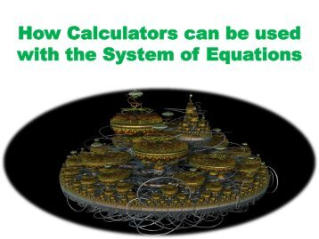 How Calculators can be used with the System of Equations