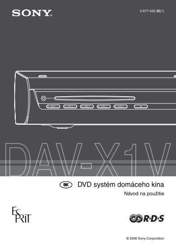 Sony DAV-X1V - DAV-X1V Istruzioni per l'uso Slovacco