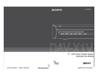 Sony DAV-X1V - DAV-X1V Istruzioni per l'uso Rumeno