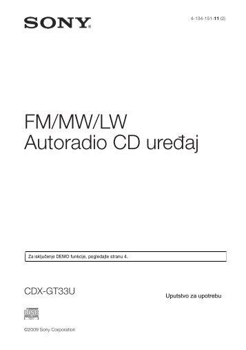 Sony CDX-GT33U - CDX-GT33U Mode d'emploi Serbe