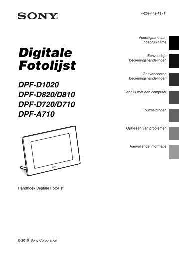 Sony DPF-D810 - DPF-D810 Consignes d'utilisation Néerlandais