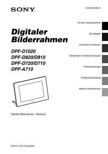 Sony DPF-D810 - DPF-D810 Consignes d'utilisation Allemand